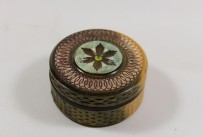 Lignum vitae box with peridot cabochon