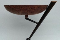 Burr Elm bowl on Ebony cantilever support